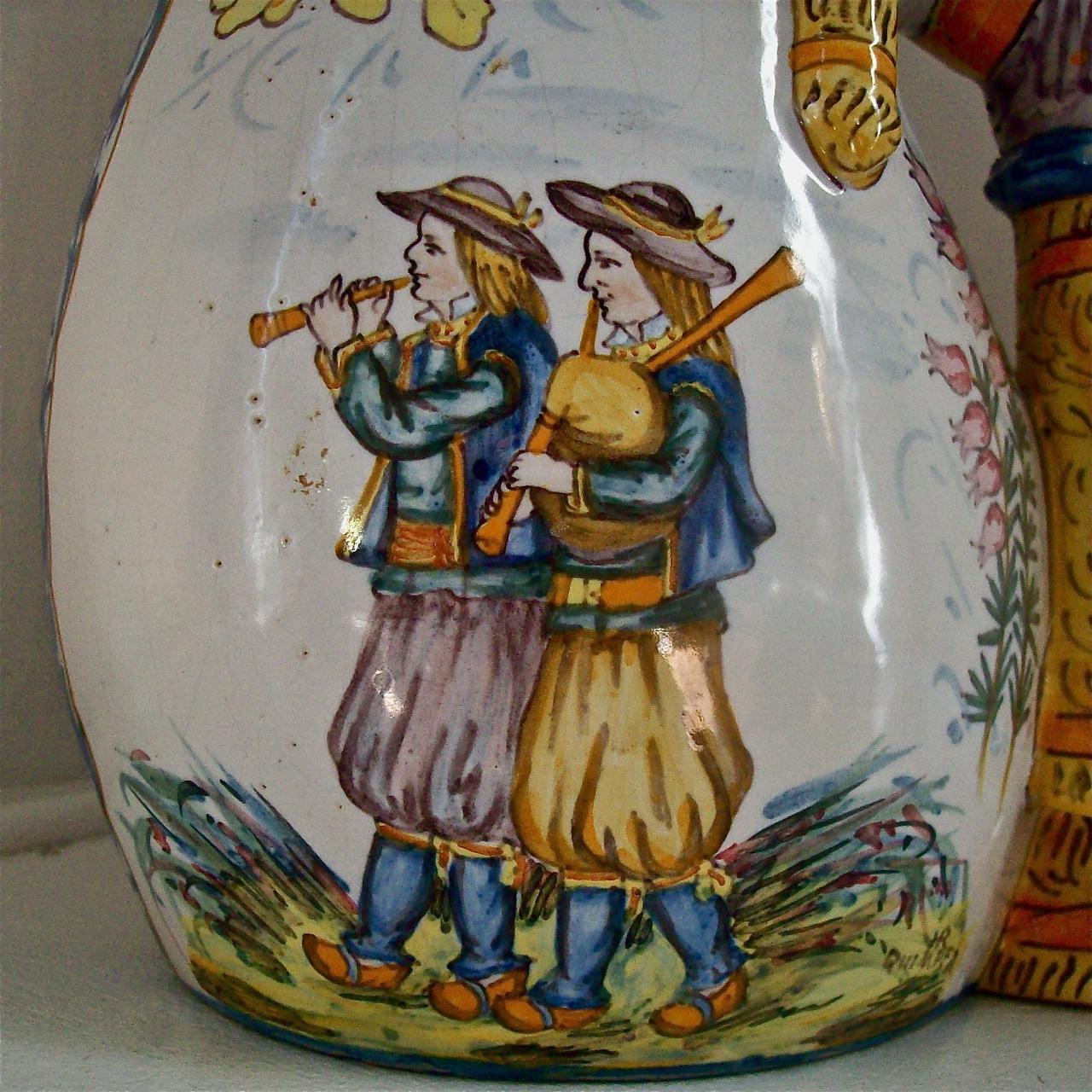 HENRIOT QUIMPER c1910 signed bagpipe vase antique French faience from musesantiques on Ruby Lane