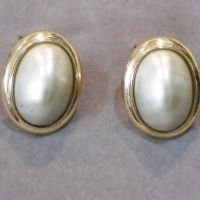 Large Vintage Ciner Oval Faux Pearl Clip Earrings from ...