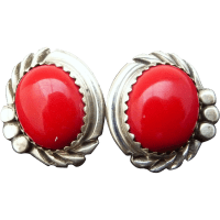 Red Coral Sterling Silver Post Earrings from muyifabu on ...
