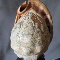 Lovely Vintage Hand Carved Sea Shell Cameo Lamp, Ava Maria ...