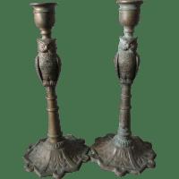 Antique Bronze Arts & Crafts Figural Owl Candlesticks SOLD ...