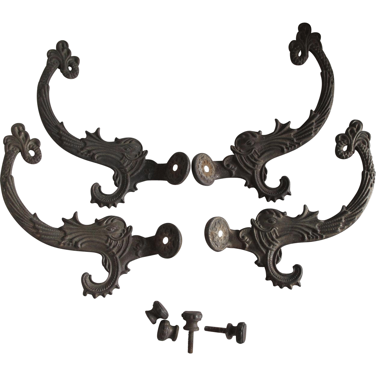 4 Victorian Gothic Dolphin Fish Coat Hooks Architectural
