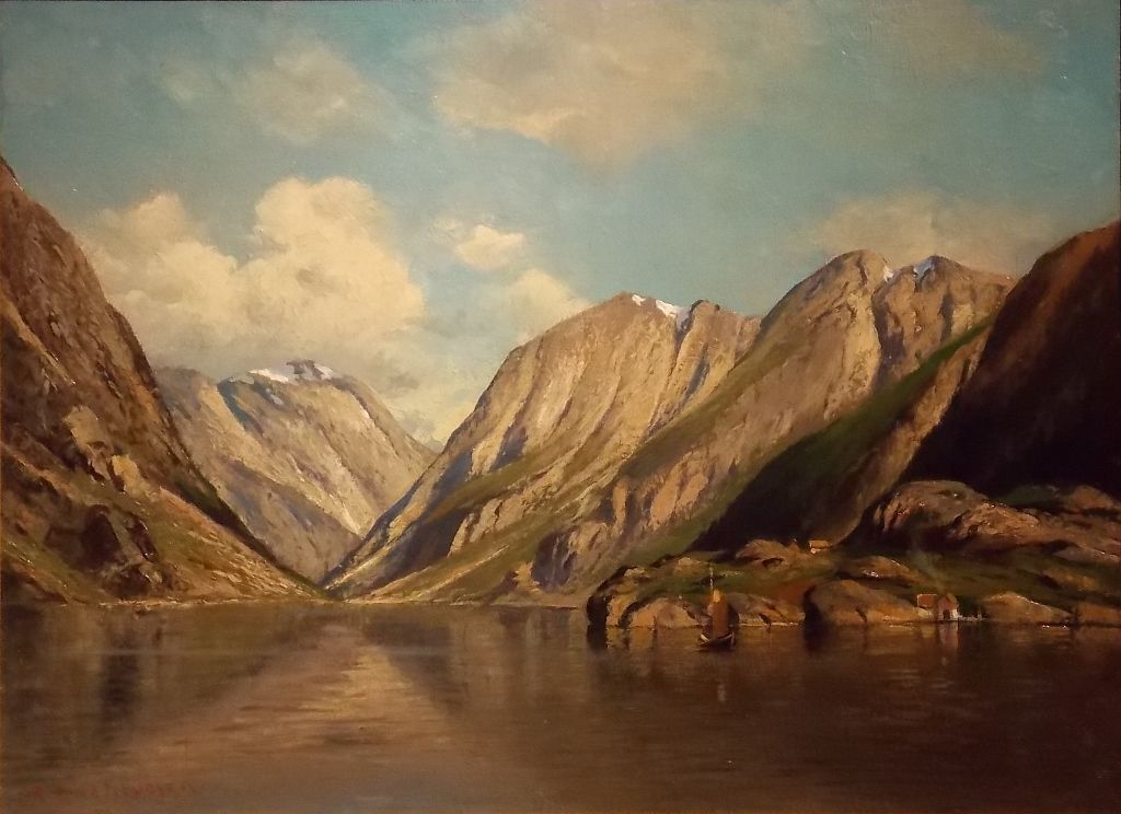 Georg A Rasmussen Oil Painting Norwegian Fjord From