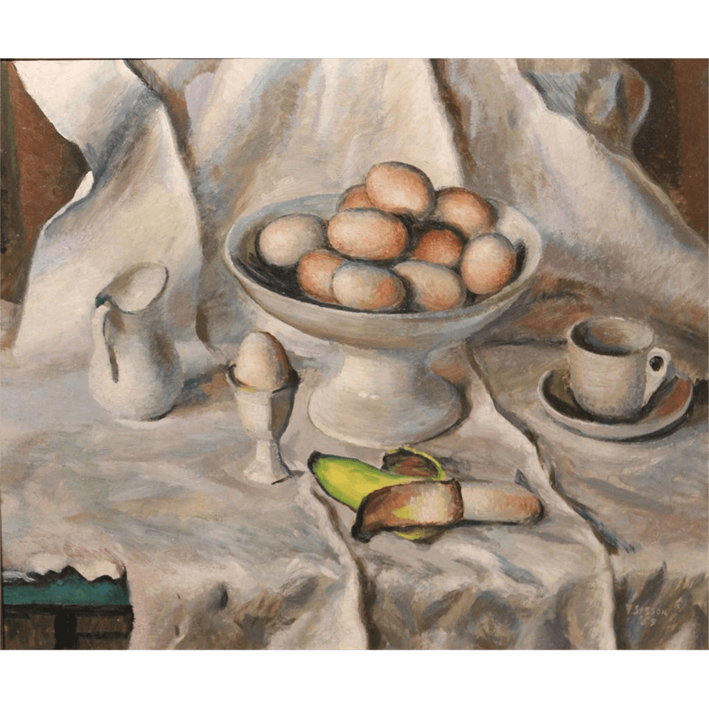 Frederick Rhodes Sisson Oil Painting Still Life at the Breakfast Table from nhantiquecoop on