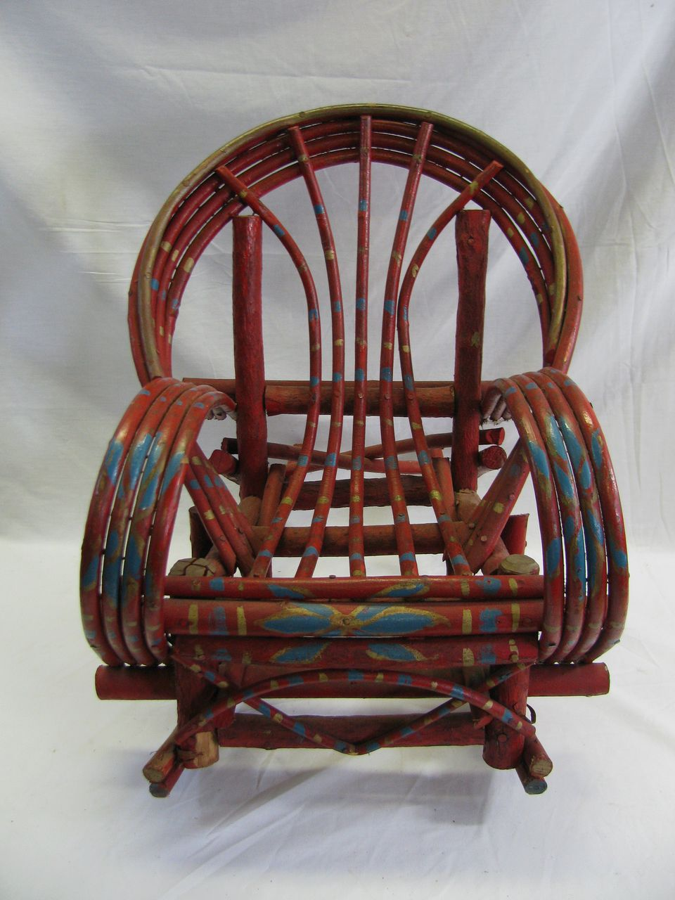 Outstanding Painted Childs Adirondack Willow Rocking