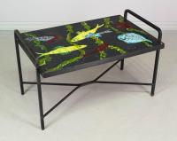 French Mid Century Tile Top Table from ofleury on Ruby Lane