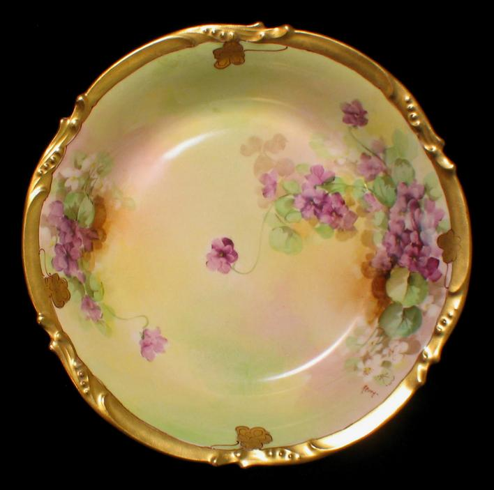 Limoges Hand Painted Pickard VIOLETS Bowl Artist Signed REURY from oldatticplace on Ruby Lane