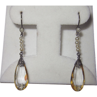Vintage Silver Citrine Pearls Drop Earrings from phalan on ...
