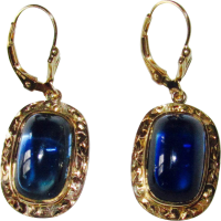 Vintage Gold Sugarloaf Blue Stone Earrings from phalan on ...