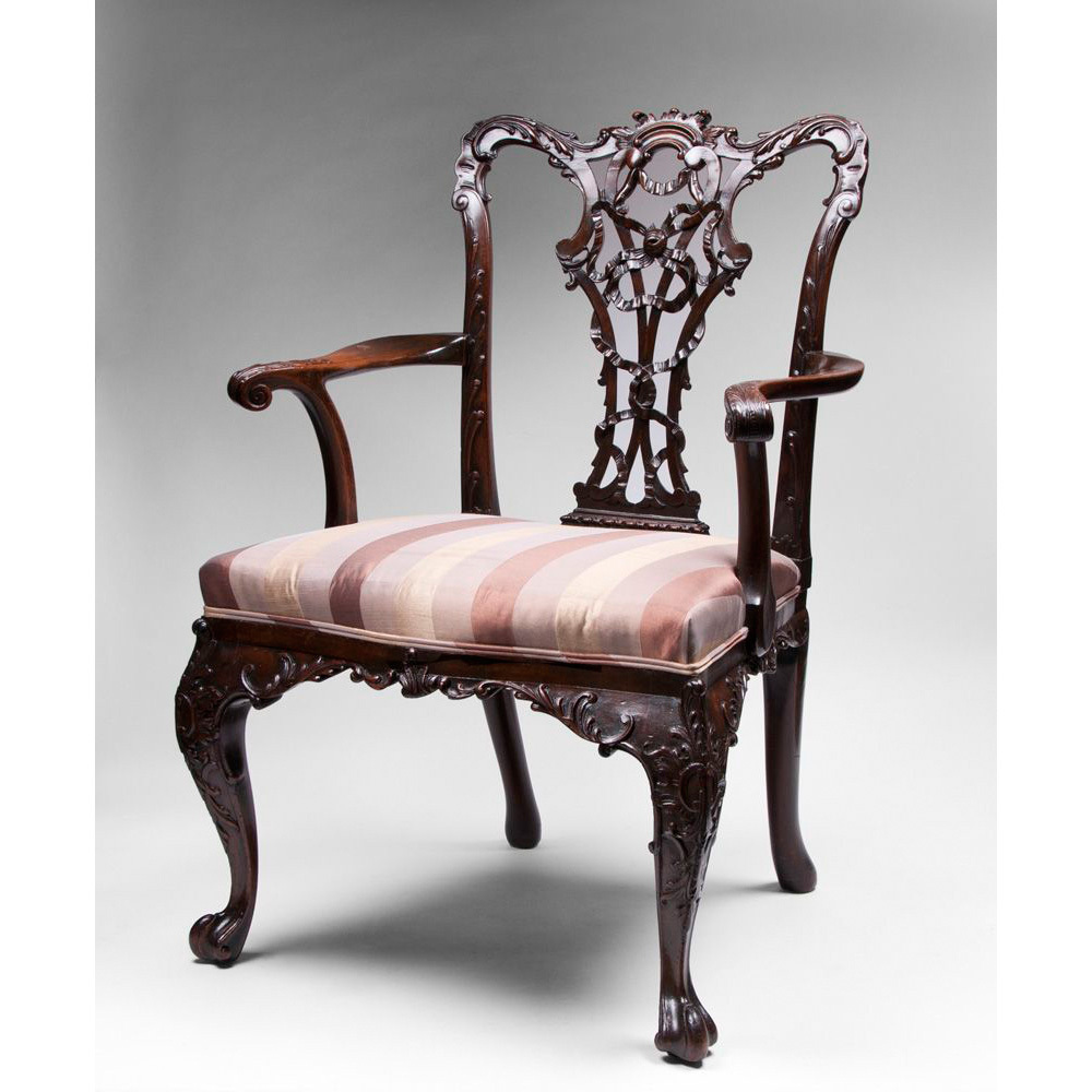 19th C Mahogany Ribbon Carved Chippendale Armchair SOLD