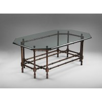 Vintage Faux Bamboo Coffee Table With Glass Top from