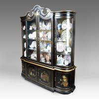Mid Century Black Lacquer China Cabinet With Four Doors ...