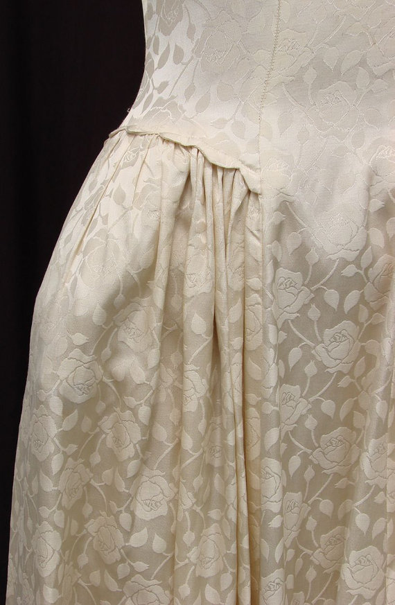 Vintage 1940s Rose Brocade Satin Wedding Gown From