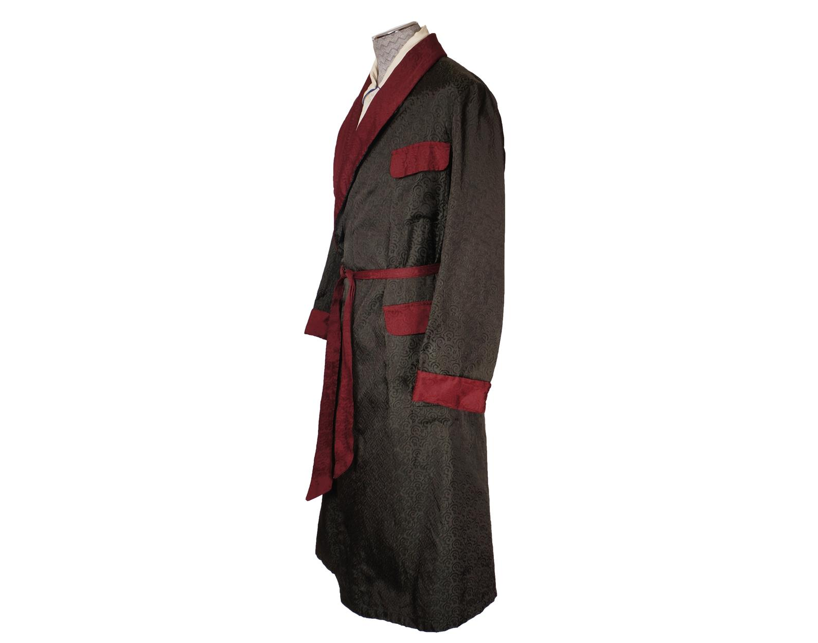 Vintage 1940s Mens Dressing Gown Green And Maroon Damask