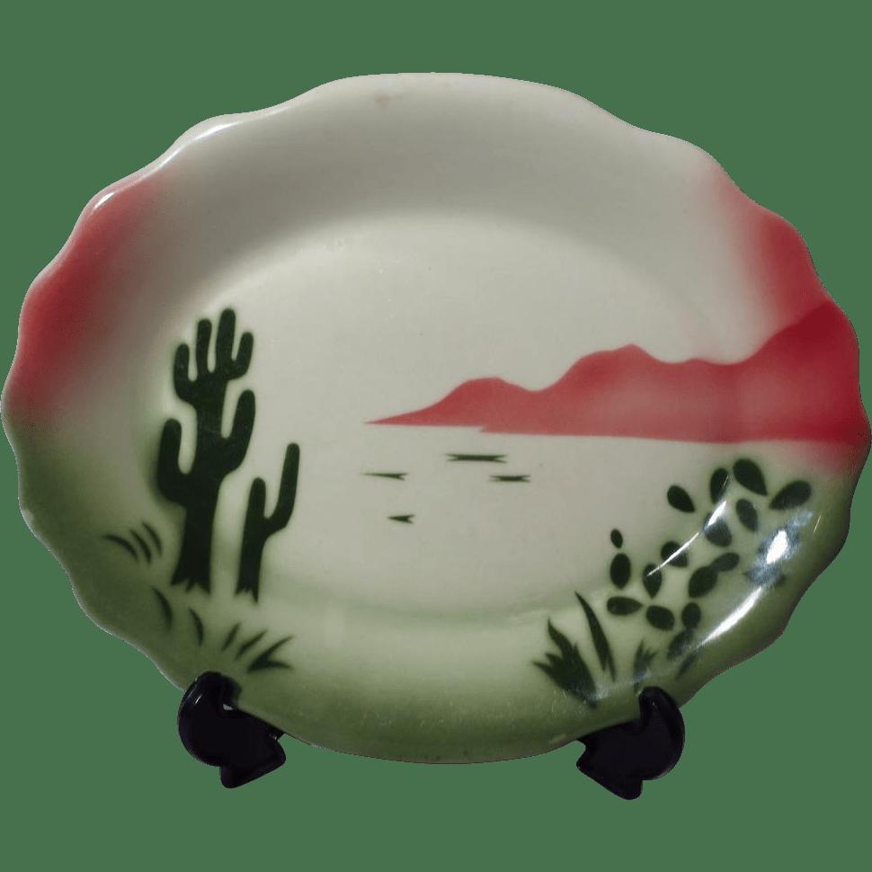 Jackson China Restaurant Ware Airbrushed Cactus Pattern