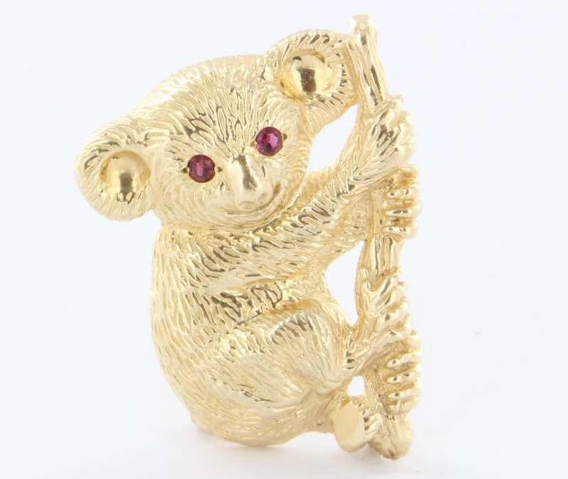 Vintage 14k Yellow Gold Ruby Koala Bear Pin Brooch Fine