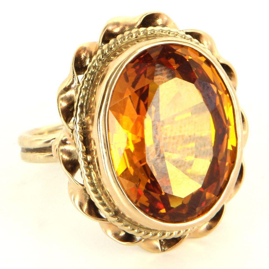 Vintage 14 Karat Yellow Gold CitrineCocktail Ring Fine Estate Jewelry from preciousandrarepieces