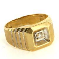 Vintage 14 Karat Yellow Gold Diamond Brushed Gold Mens ...