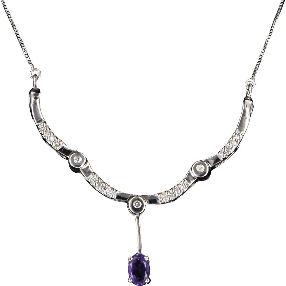 Estate 14 Karat White Gold Diamond Amethyst Cocktail