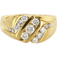 Vintage 14 Karat Yellow Gold Diamond Mens Cocktail Ring ...