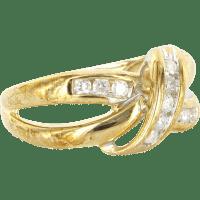 Vintage 10 Karat Yellow Gold Diamond Crossover Band Ring ...