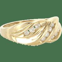 Vintage 10 Karat Yellow Gold Diamond Right Hand Ring Fine ...