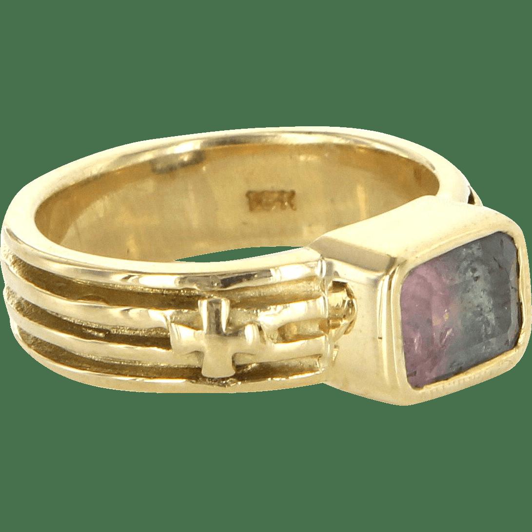 Loree Rodkin Watermelon Tourmaline 18 Karat Gold Ring