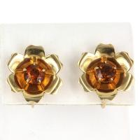 Vintage Retro Citrine Flower Cocktail Earrings 14 Karat ...