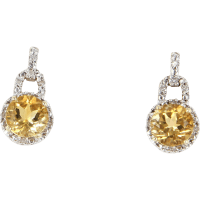 Citrine Diamond Drop Earrings Vintage 10 Karat Yellow Gold ...