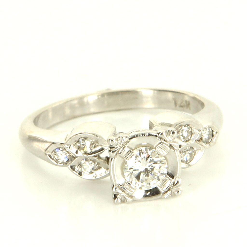 Vintage 14 Karat White Gold Diamond Engagement Ring Fine Estate from preciousandrarepieces on