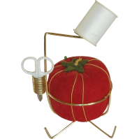 Large Red Tomato Pin Cushion and Pin Cushion Holder from