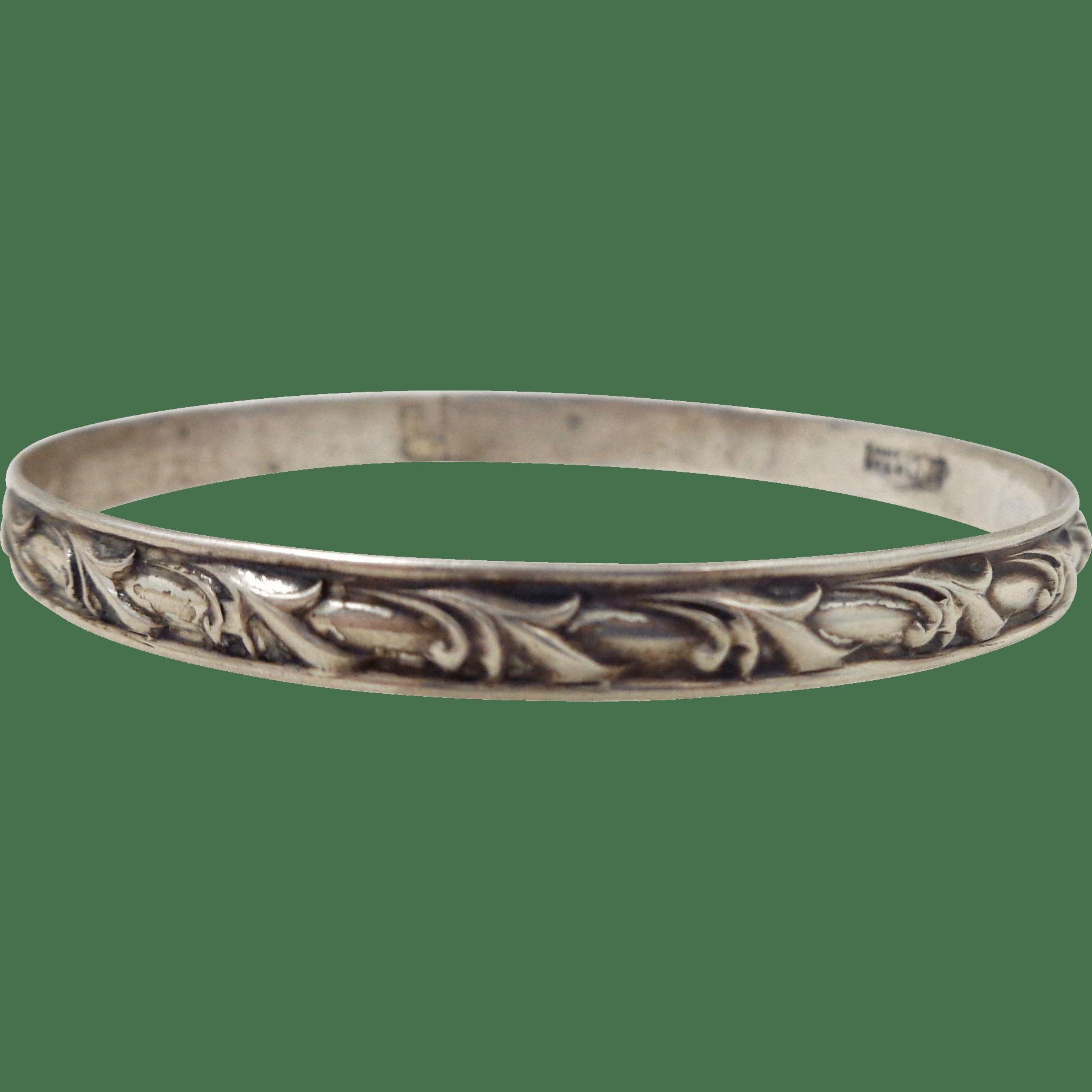 Vintage Danecraft Sterling Silver Acanthus Leaf Bangle