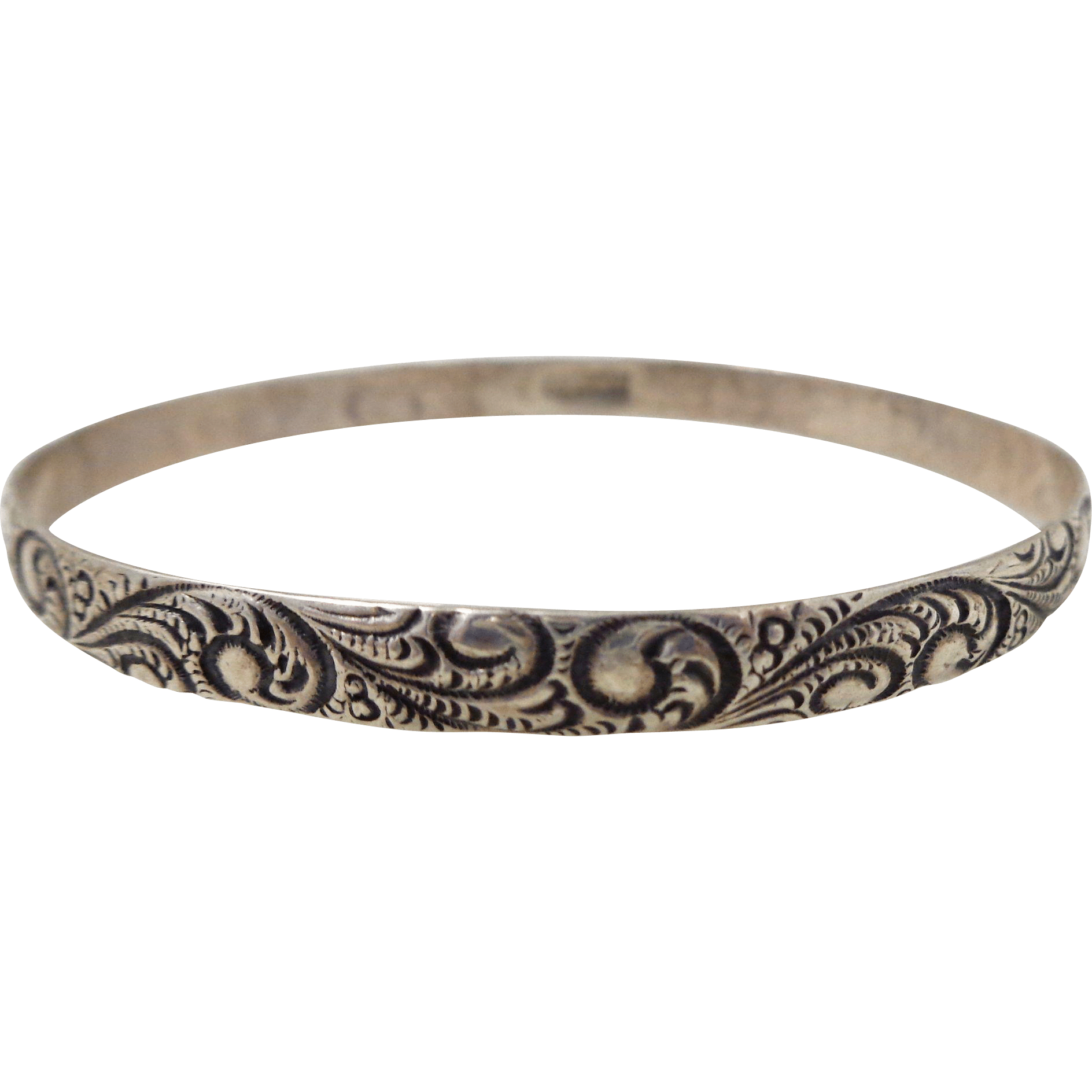 Vintage Danecraft Sterling Silver Paisley Bangle Bracelet