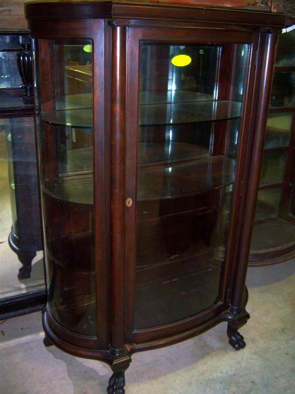 Mahogany curved Glass China Cabinet Chippendale Federal