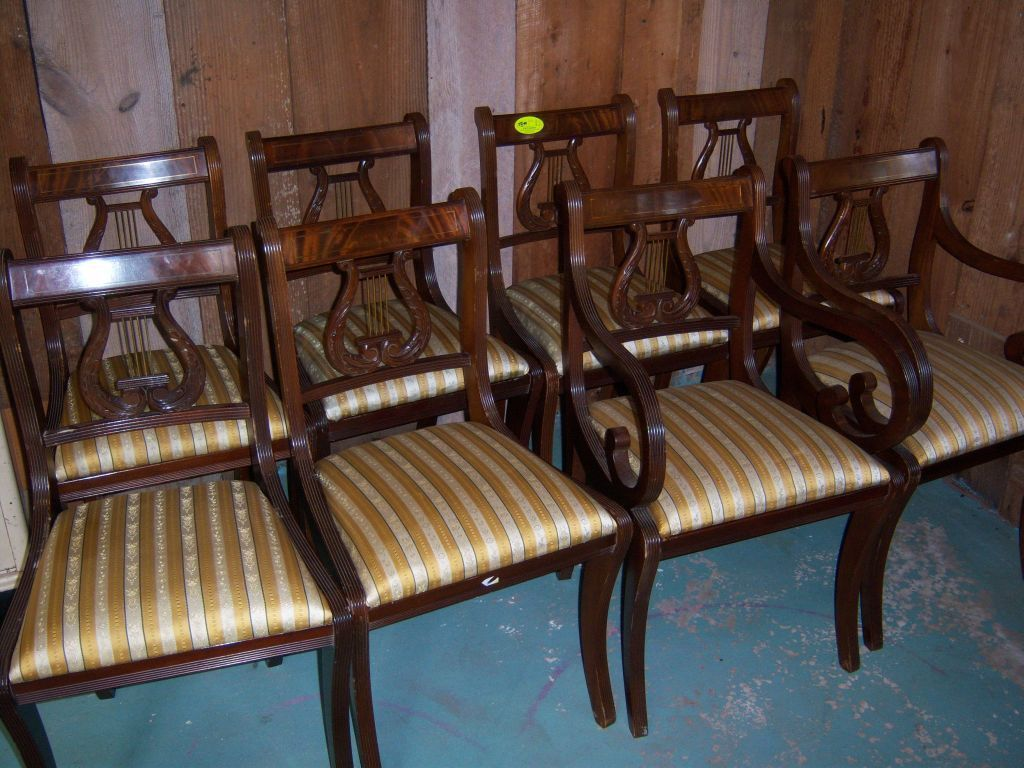 Lyre Back Chairs Mahogany Lyre Back Dining Chairs Federal Sheraton Style