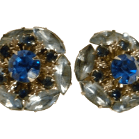 Stunning Blue Rhinestone Earrings from rozsplace on Ruby Lane