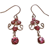 Dainty Drop Earrings with Pink Stones from rozsplace on ...