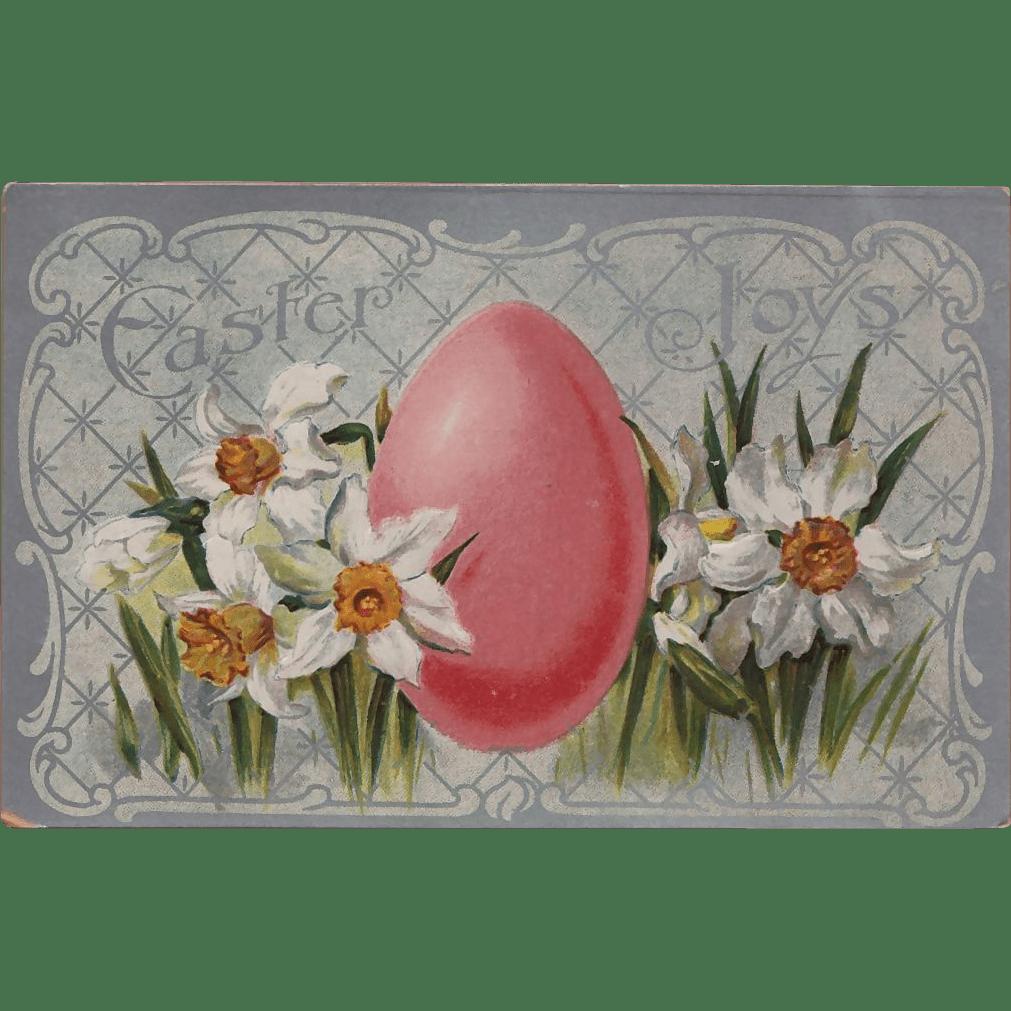 Vintage Easter Joys Daffodils And Easter Egg Postcard