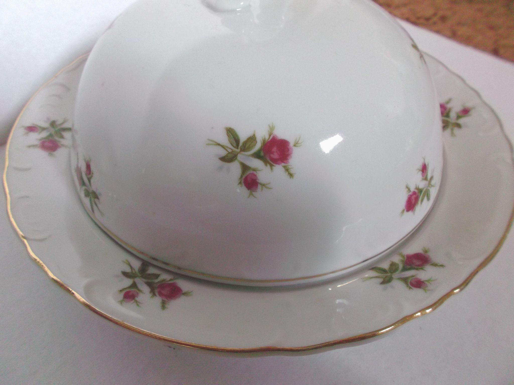 Moss Rose Butter Cheese Dish Vintage Japan Cherry China