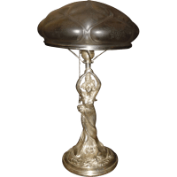 Art Nouveau Figural Lady Table Lamp - Silver Plate Finish ...