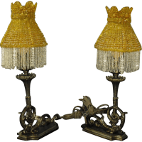 Early Electric Bronze Table Lamps with Beaded Shades from