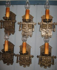Tudor Cast Brass Wall Sconces - 3 pairs available from ...