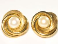 Vintage Clip-on Earrings, 13k-14k Yellow Gold and Cultured ...