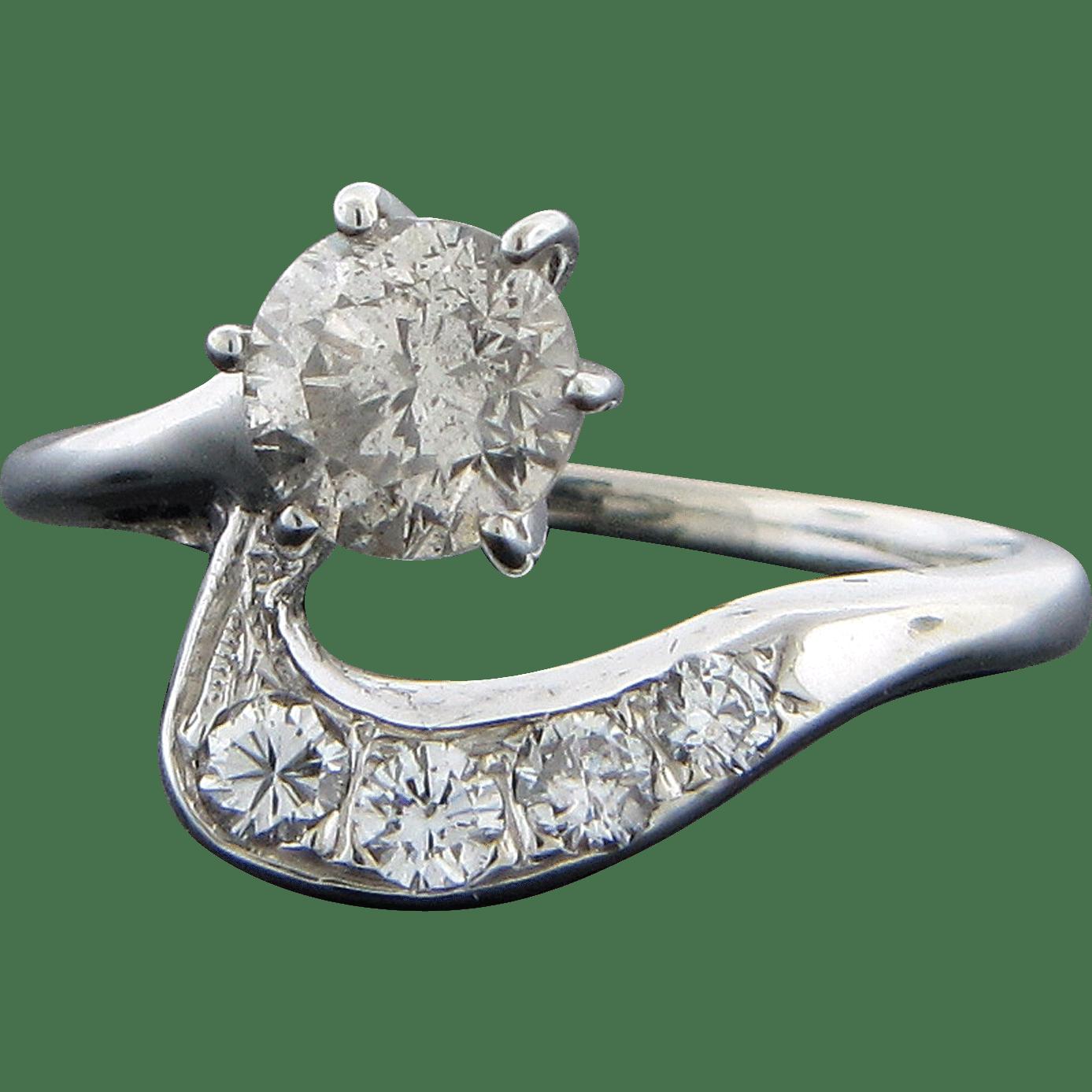 14 Karat White Gold Diamond Ring from solvangantiques on Ruby Lane