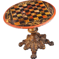 Antique DOLL GAME CHESS Tilt Table Cast Iron Claw Feet ...