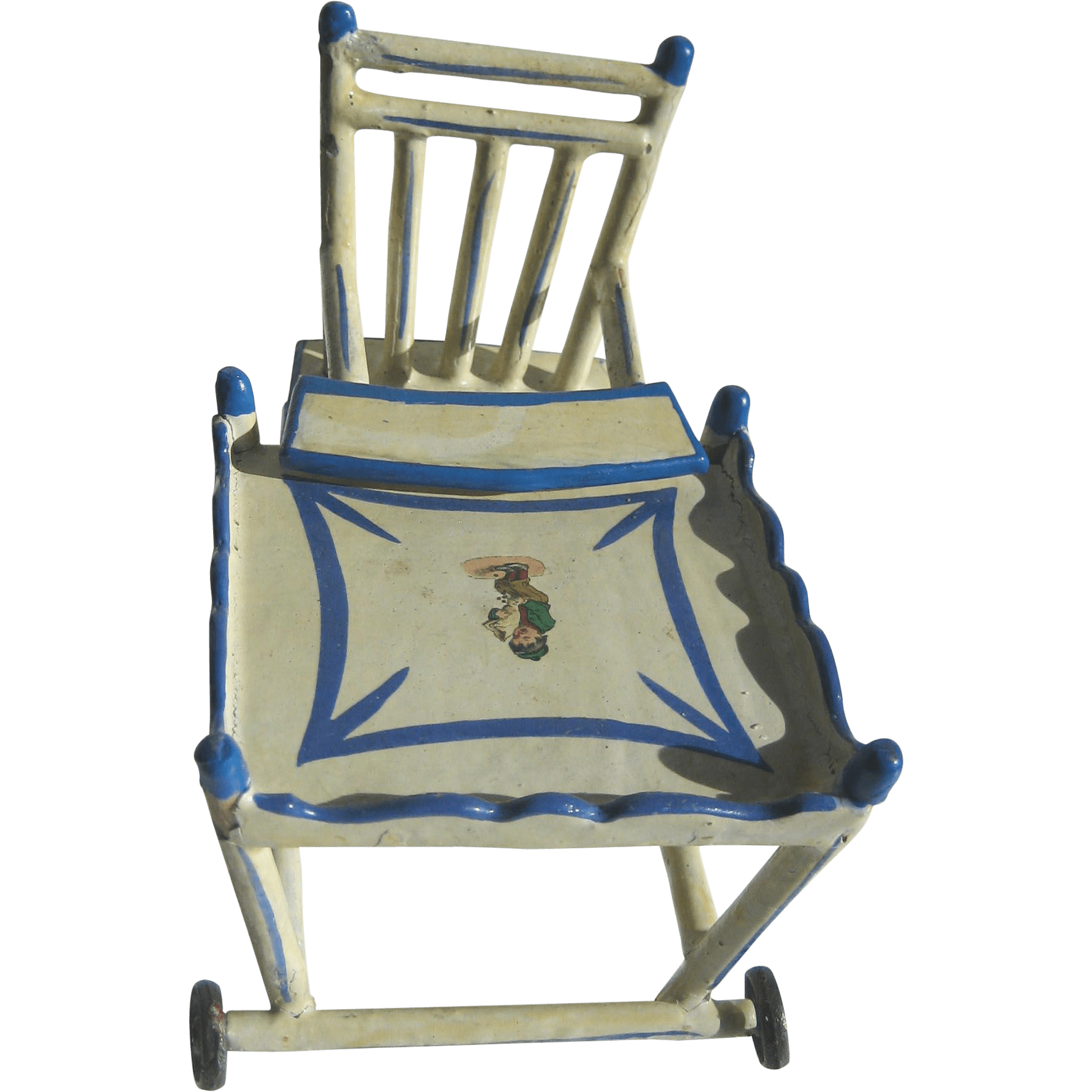 Mini Folding Chair Antique German Blue White Wood Small Miniature Doll
