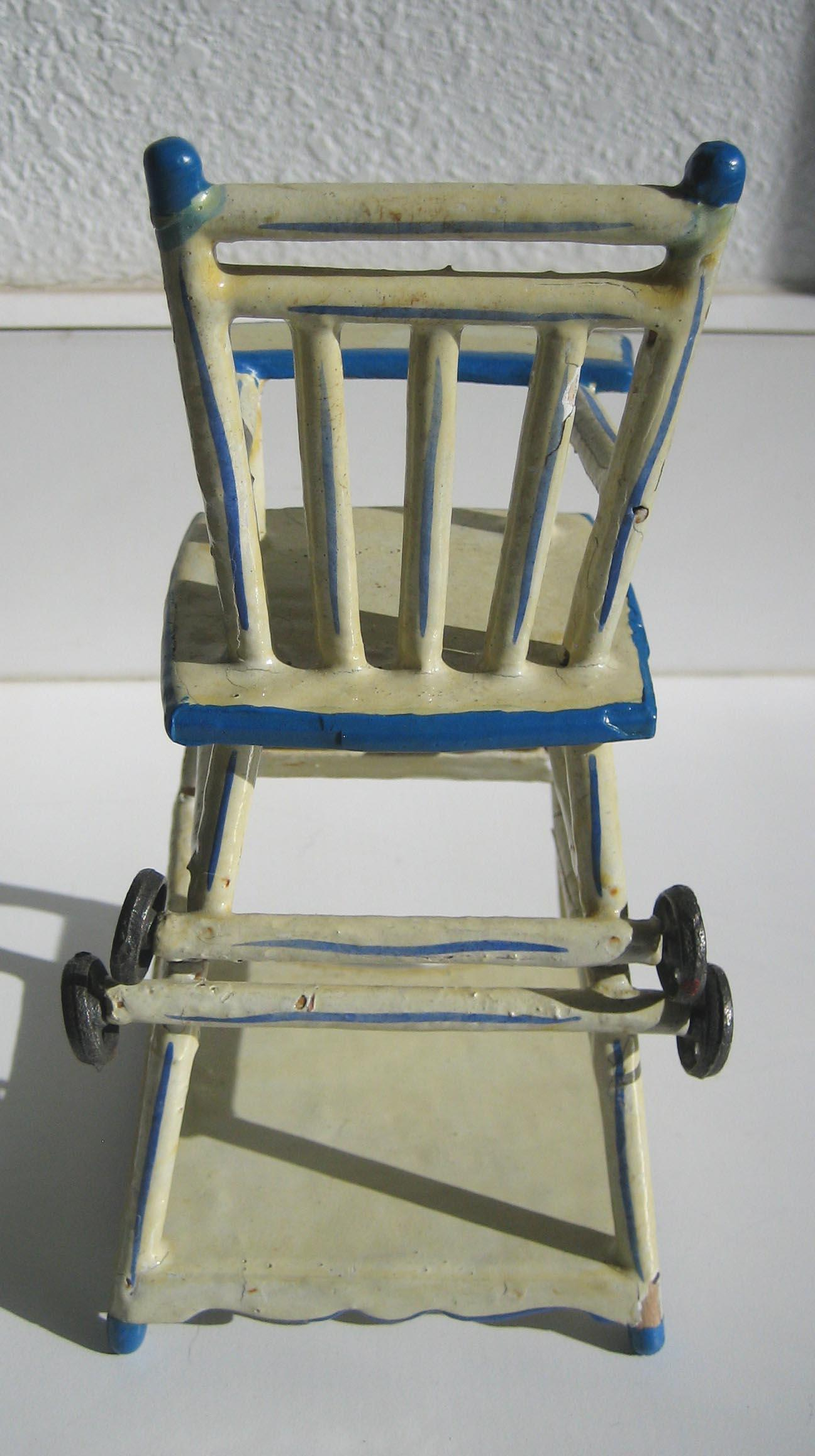 White Wood High Chair Antique German Blue White Wood Small Miniature Doll