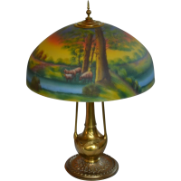 Reverse painted table lamp with scenic shade from souhantq ...