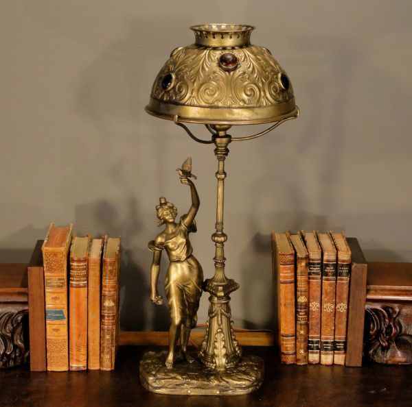 Signed Late Victorian Figural & Street Lamp Desk