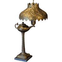 Tall Exotic Aladdin`s Lamp Desk Lamp w/ Cut Brass Shade